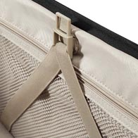 Spacious interior with packing straps and cross-ribbons for easy packing.